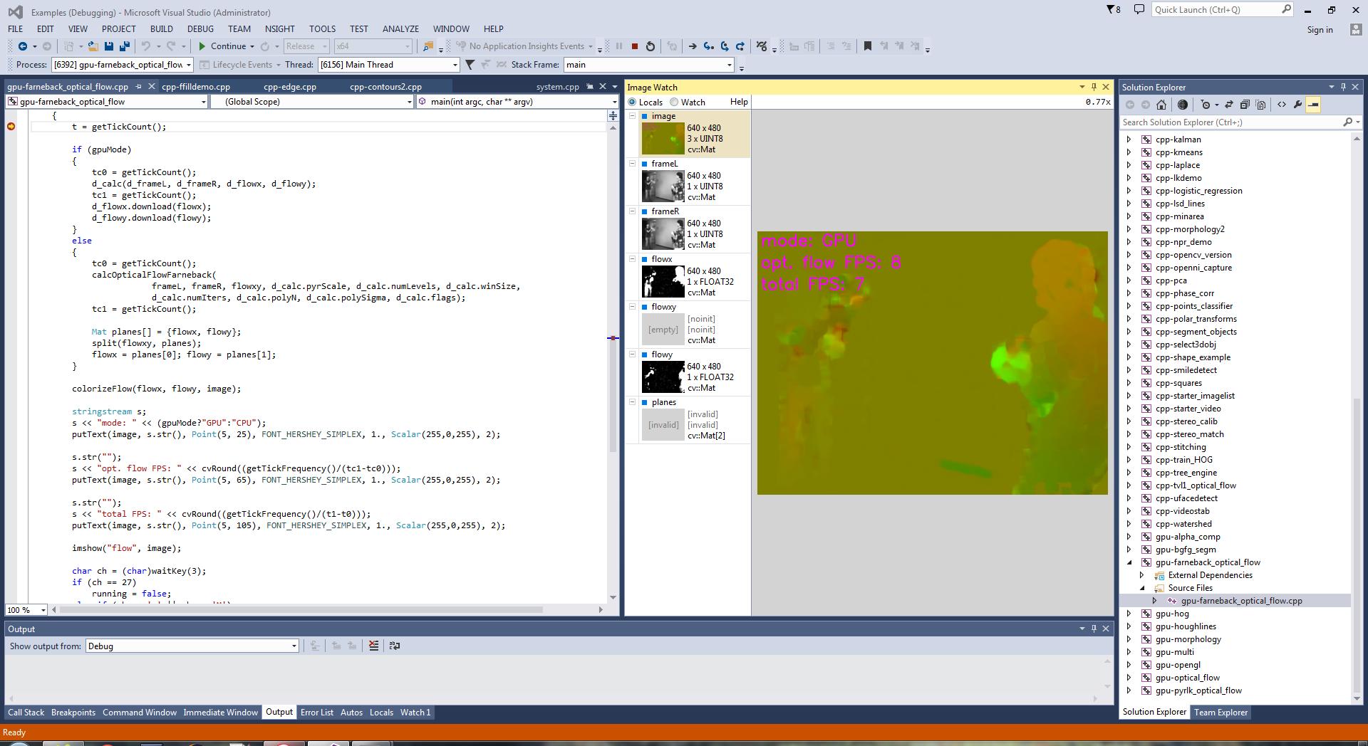 OpenCV GPU example, debug with Image Watch